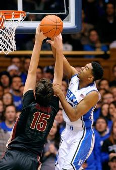 Duke's Matt Jones didn't score but played some tough defense on Florida State's Boris Bojanovsky during the 18th-ranked Blue Devils' win.